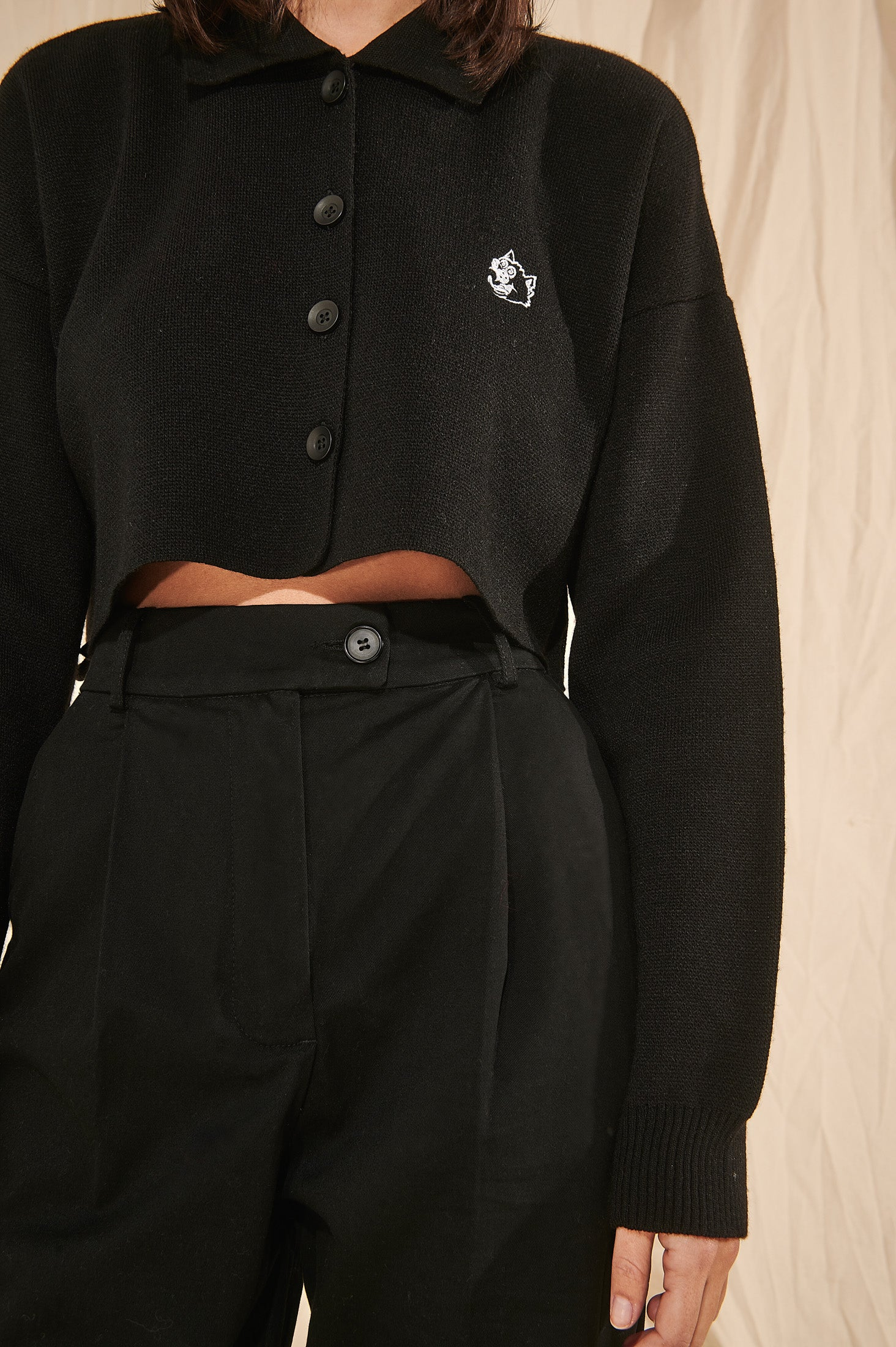 Cropped Polo Shirt (Black)