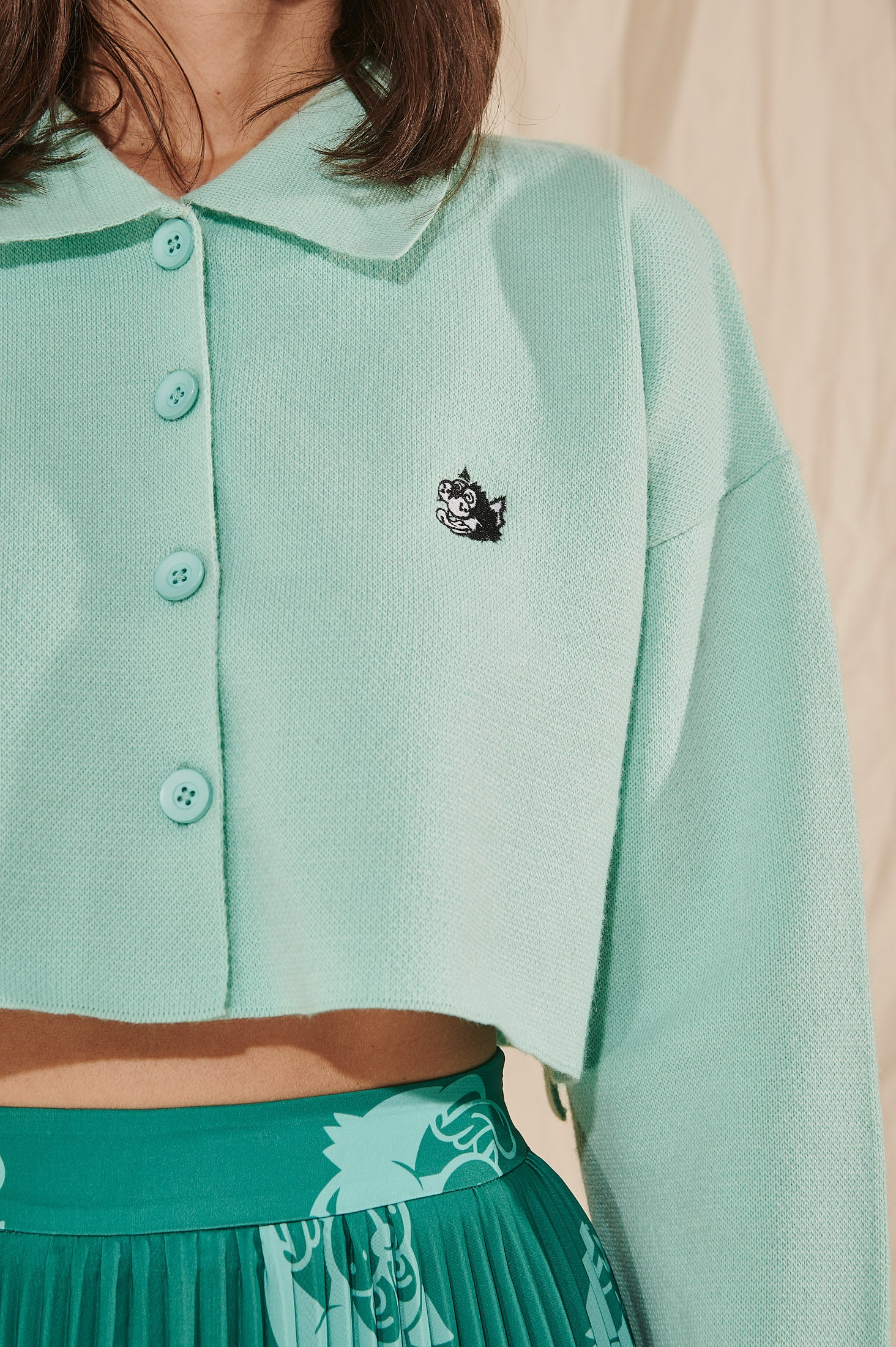 Cropped Polo Shirt (Mint)