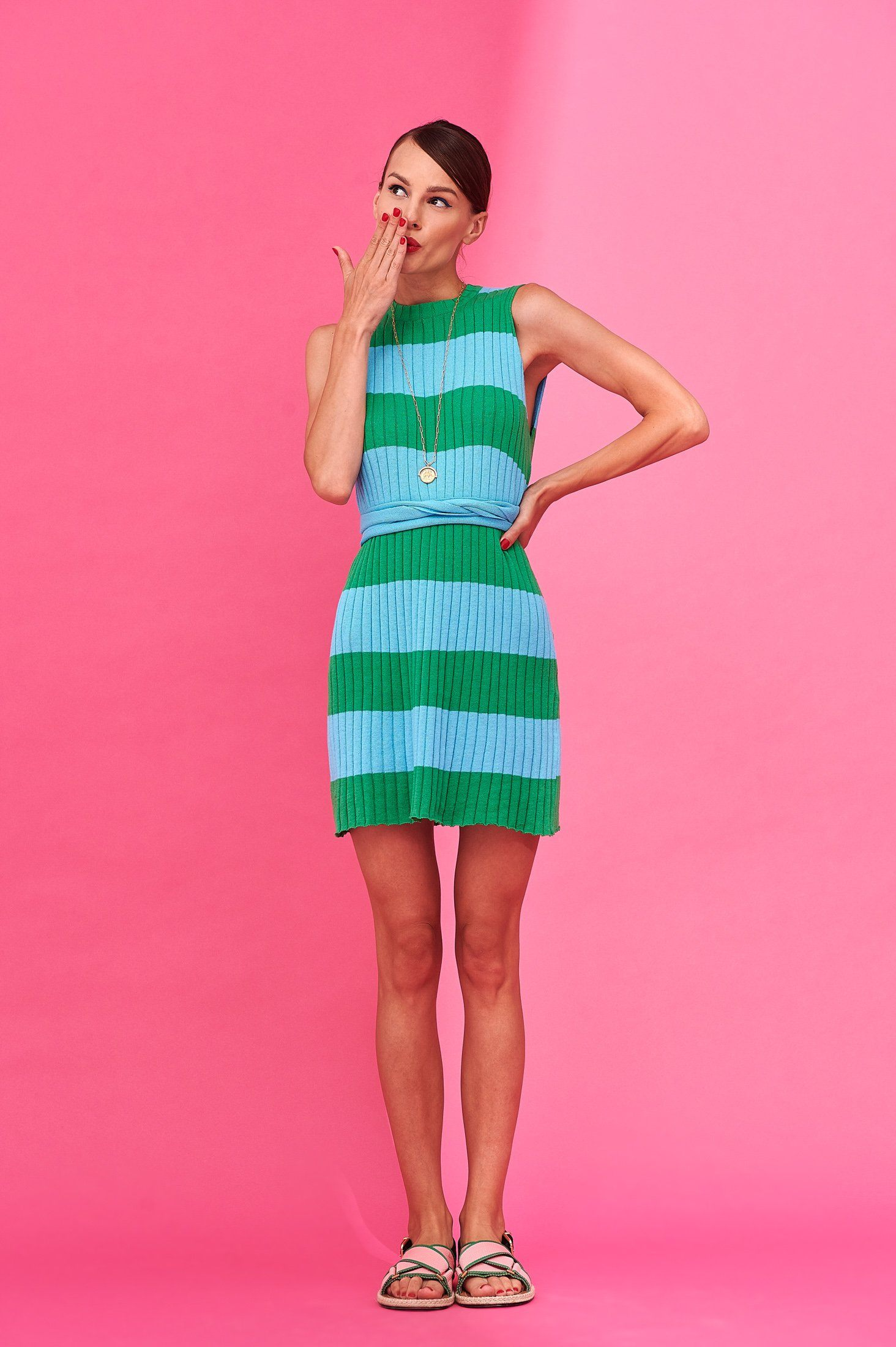 Audrey Top/Dress (Green / Turquoise) Tops Karavan Clothing