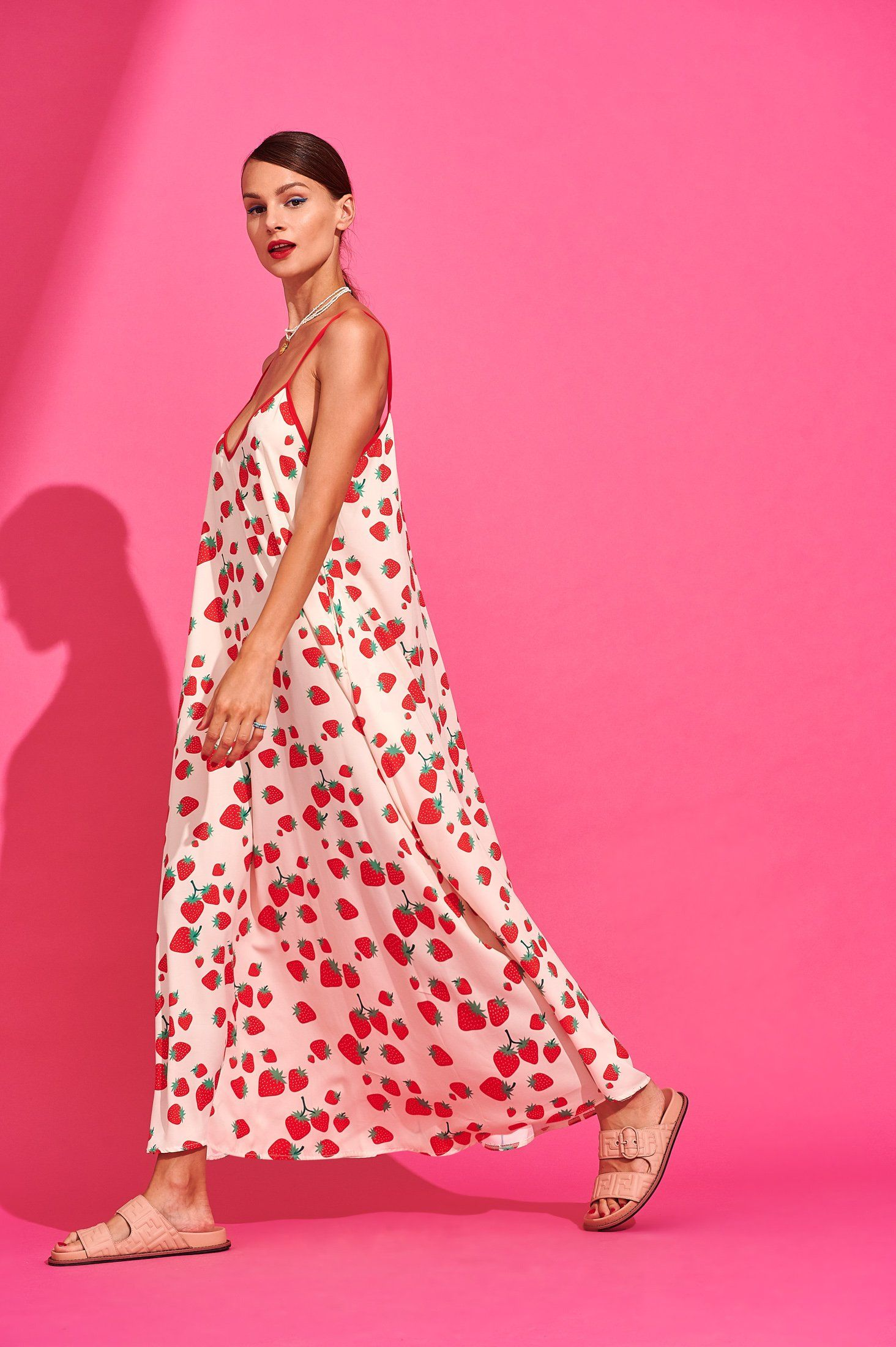 Tati Dress (Strawberries Ivory) Dresses Karavan Clothing