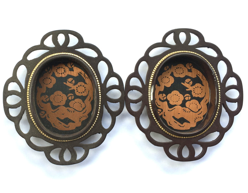 Japanese door pulls brown gold and copper set of 2