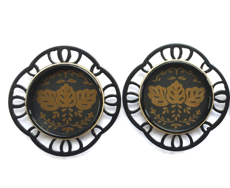 Japanese pocket door pulls black gold  set of 2