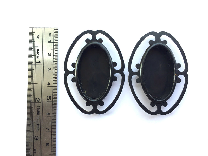 Set of 2 Black Japanese Door Pulls Pretty Design Small Size