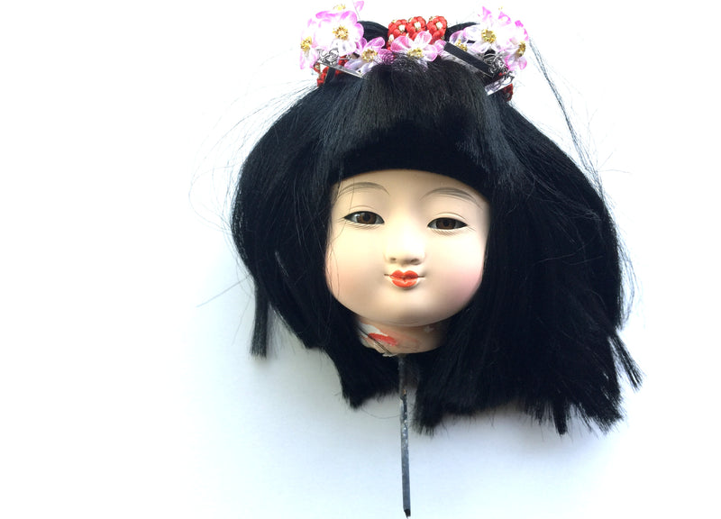 Japanese doll head - female ichimatsu doll Flowers in her hair