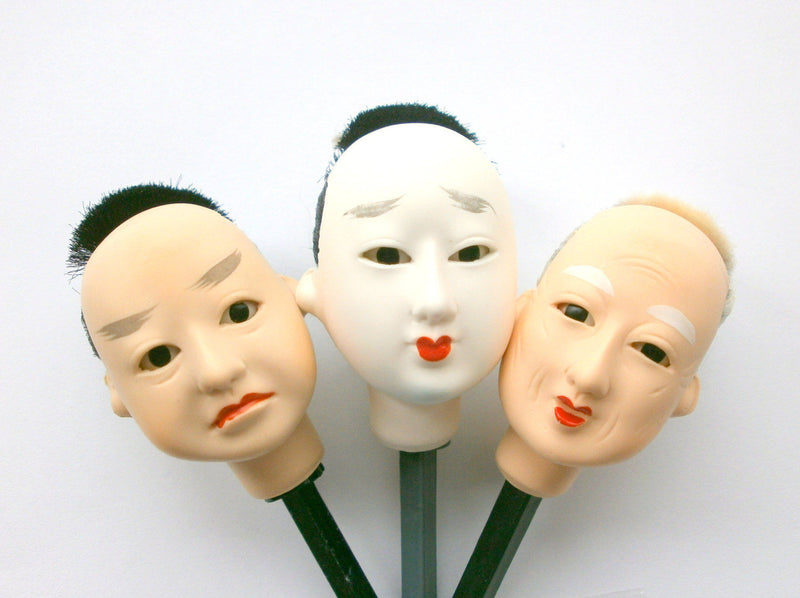 Japanese Male Doll Head - Small Size Set of 3