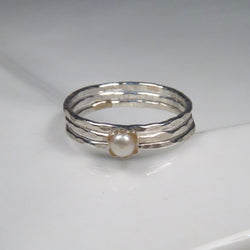 White freshwater pearl rings set of 3, hammered sterling silver rings