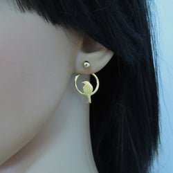 Gold ear jacket earrings double sided, gold bird earrings
