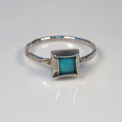 Square Turquoise stacking ring, December birthstone ring