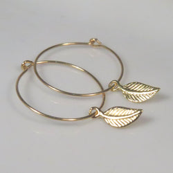 Gold filled Leaf hoop earrings