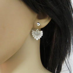 Sterling silver filigree ear jacket earrings, art nouveau style
