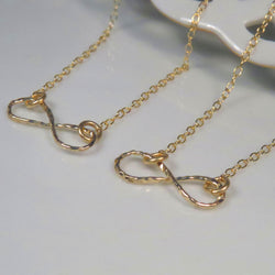 Gold infinity necklace set for sisters, best friends, bridesmaids