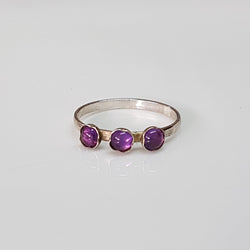Purple Amethyst ring silver, 3 stone ring, February birthstone