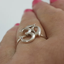 Sterling silver Yoga om ring for women any size