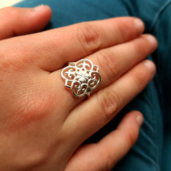 Square Filigree Ring Sterling Silver For Women, Vintage Style