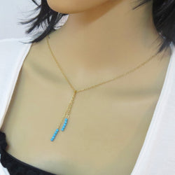 Dainty Turquoise necklace lariat, gold and turquoise necklace