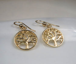 Tree of life earrings, Gold plated earrings, Gold tree earrings, Small dangle earrings