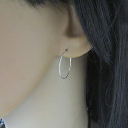 Sterling silver thin hoop earrings , Skinny hoops