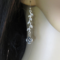 Sterling Silver twig earrings, Long branch earrings