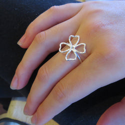 Four leaf clover ring sterling silver, Shamrock ring, Irish lucky ring
