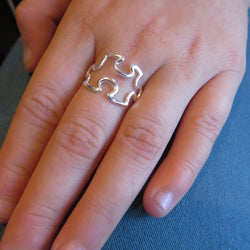 Jigsaw puzzle ring sterling silver, autism awareness ring