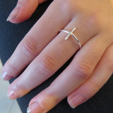 Hammered sideways silver cross ring, christian rings, faith ring
