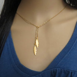Gold filled lariat necklace, Feather necklace