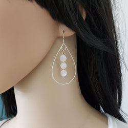 Teardrop hoop earrings, Silver and rose quartz earrings, Huge earrings