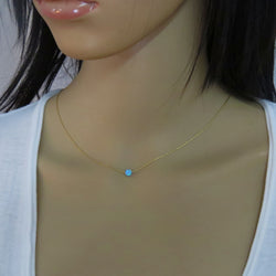 Opal bead necklace on 14k goldfilled chain, Floating tiny Opal necklace