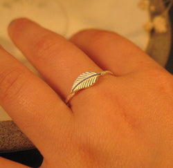 Sterling silver leaf ring,  Thin silver stacking ring
