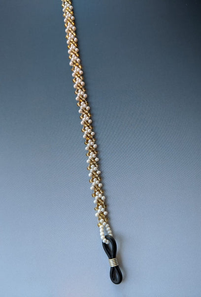Spectacle chain - Gold & White Chevron