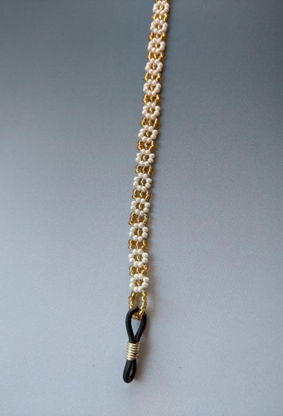 Spectacle chain - Gold & White Flowers