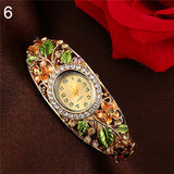 Crystal Flower Bangle Bracelet Watch