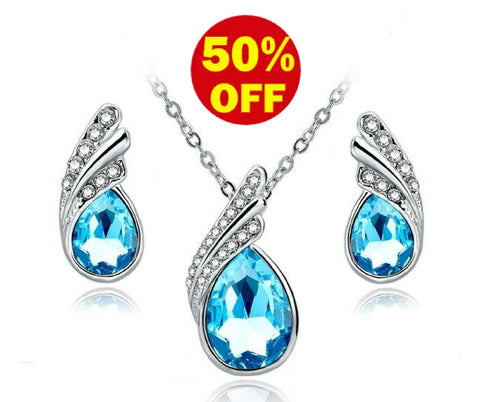 Blue Crystal Necklace Earrings Set