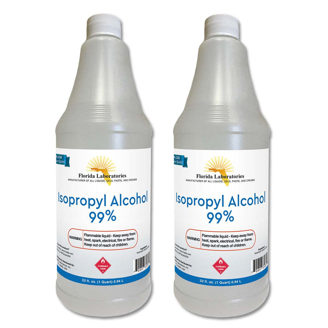 Isopropyl Alcohol 99% Anhydrous - Half Gallon - 2 Quart Bottles - Always White