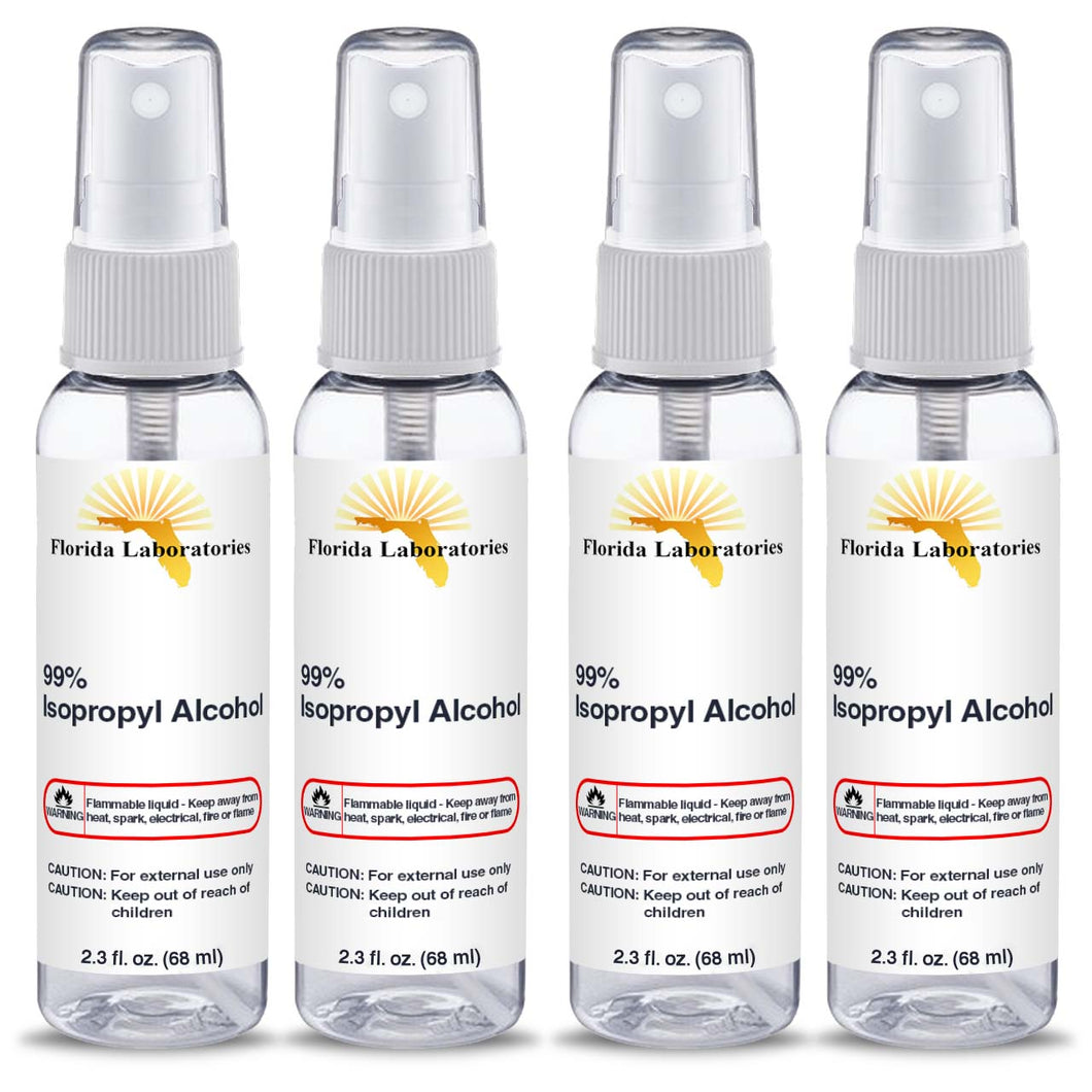 Isopropyl Alcohol 99% -  (4) 2.3 oz Spray Disinfectant Bottle - Isopropyl-Alcohol.Com