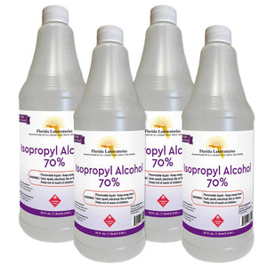 Isopropyl Alcohol 70% Anhydrous 1 Gallon - Pack of 4 Quarts - Isopropyl-Alcohol.Com