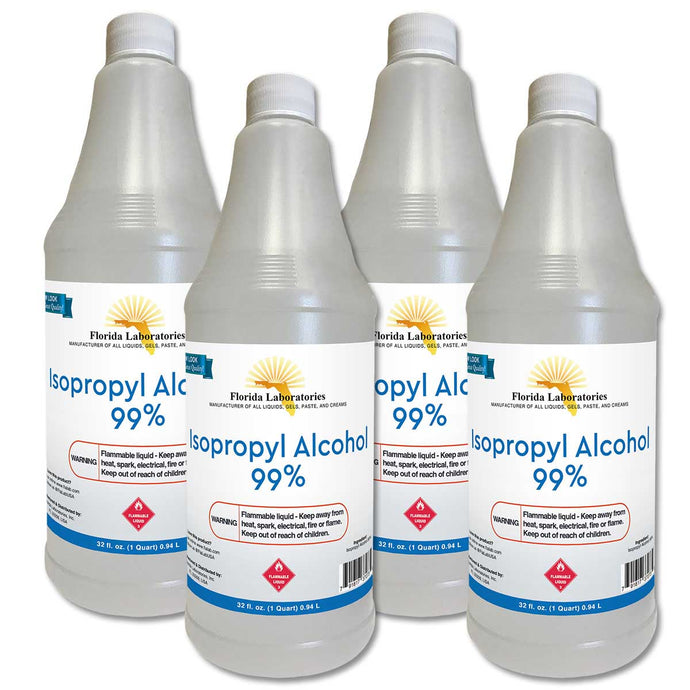 Isopropyl Alcohol 99% Anhydrous - 1 Gallon - Pack of 4 Quarts - Isopropyl-Alcohol.Com