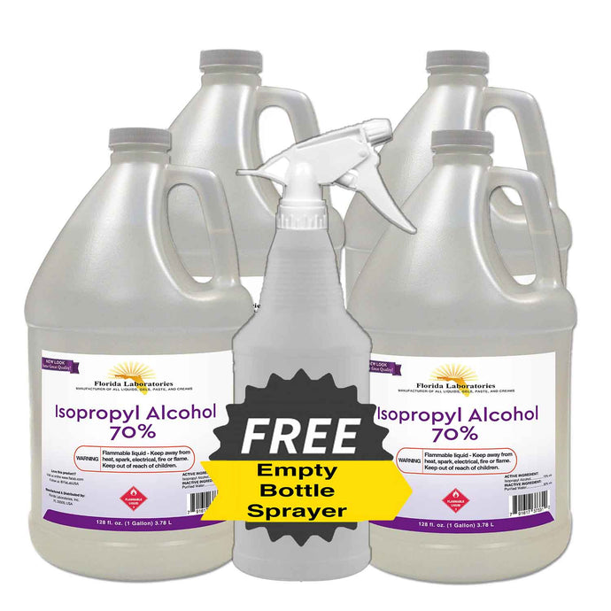Isopropyl Alcohol 70% - 4 Gallons - Empty Bottle Sprayer Included - Isopropyl-Alcohol.Com