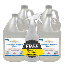 Load image into Gallery viewer, Isopropyl Alcohol 99% Anhydrous - 4 Gallons - Empty Bottle Sprayer Included - Always White