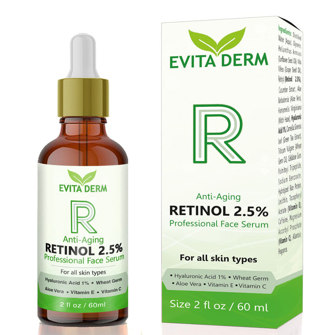 2.5% Retinol Serum by Evita Derm 2 oz - With Hyaluronic Acid, Vitamin C & E, Peptide and Aloe Vera - Always White