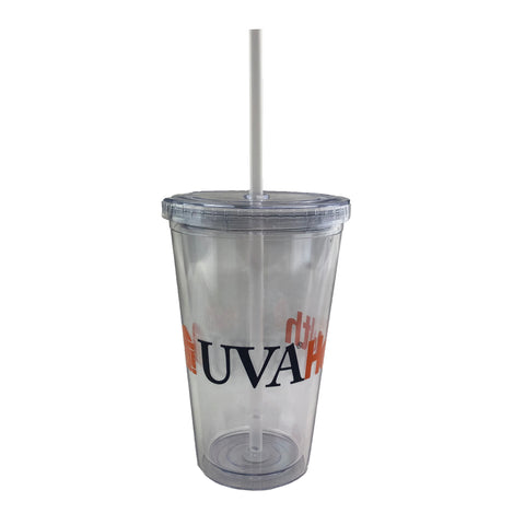 UVA Health System 16 Oz. Sedici Double Wall Tumbler With Straw - Translucent
