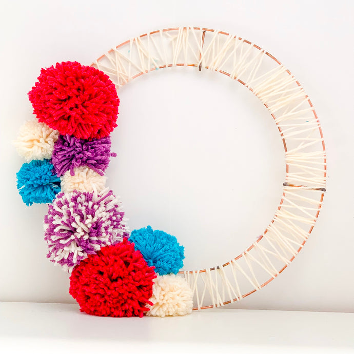 Free Tutorial: Pom Pom Copper Wreath