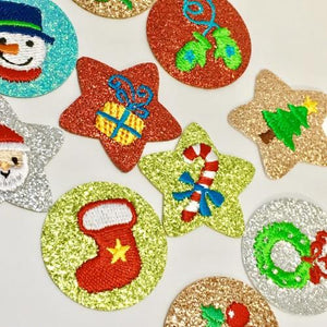 Glitter Iron On Motif - Christmas