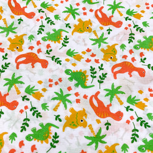 Fabric Felt Sheet - Jungle Dinosaurs - Orange
