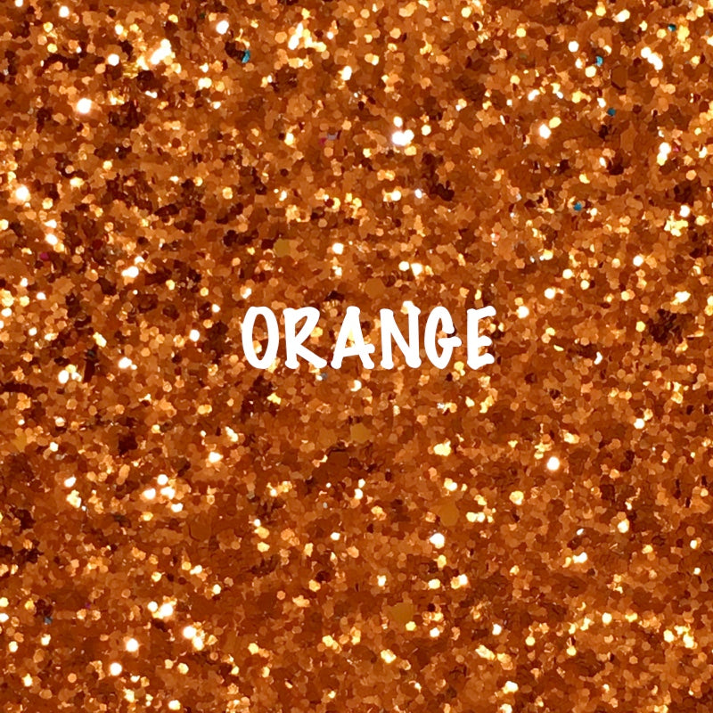 Glitz Chunky Glitter Fabric - Orange