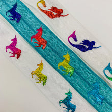Load image into Gallery viewer, Fold Over Elastic - Unicorns and Mermaids
