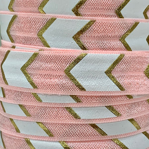 Fold Over Elastic - Large Metallic Chevron