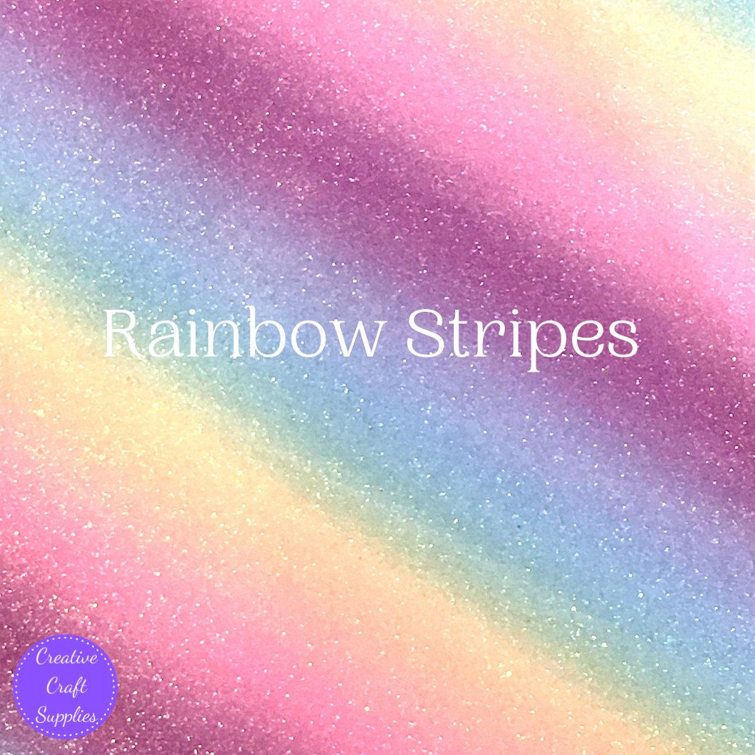 Shimmer Fine Glitter Fabric - Rainbow Stripes