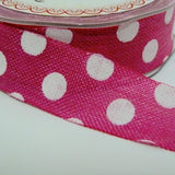 25mm wide Polka Dot Hessian Ribbon
