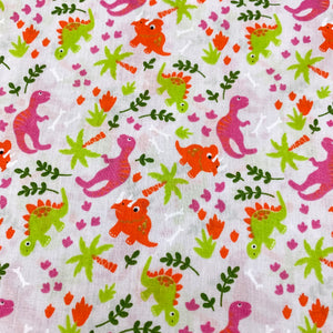 Fabric Felt Sheet - Jungle Dinosaurs - Pink